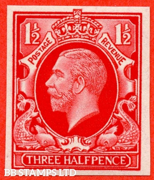 SG. 441 variety.1934 Photogravure 1½d Scarlet Colour Trial. A very fine UNMOUNTED MINT example.