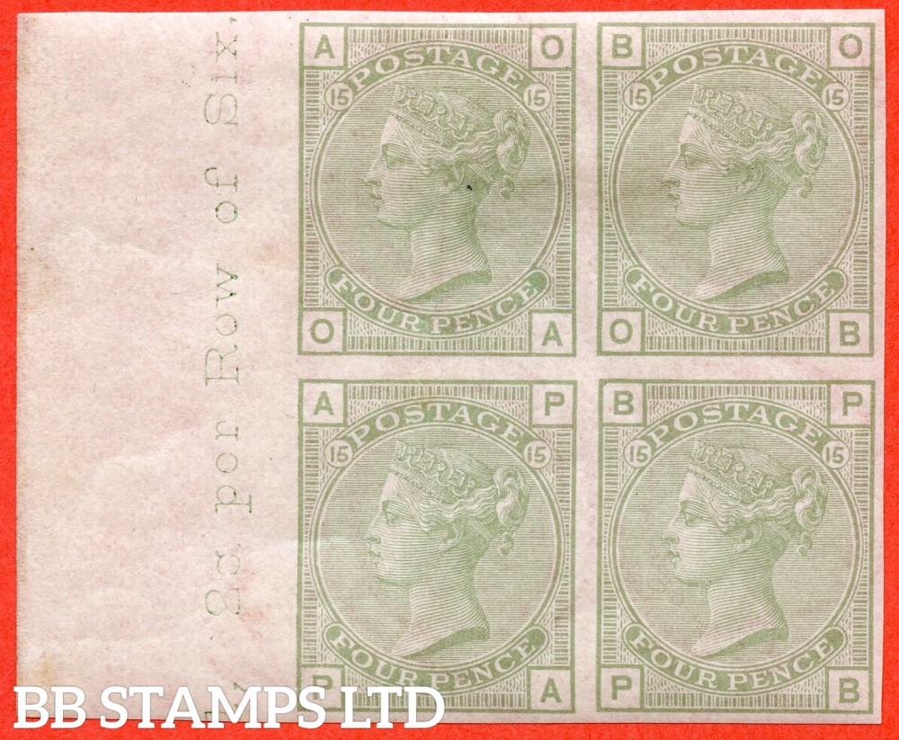 """SG. 153. J64. """" OA OB PA PB """". 4d sage - grey. Plate 15. A very fine UNMOUNTED MINT left hand inscriptional marginal block of 4 of this COLOUR TRIAL."""