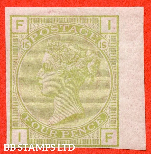"SG. 153. J64. "" IF "". 4d Light Sage. Plate 15. A very fine lightly mounted mint COLOUR TRIAL."