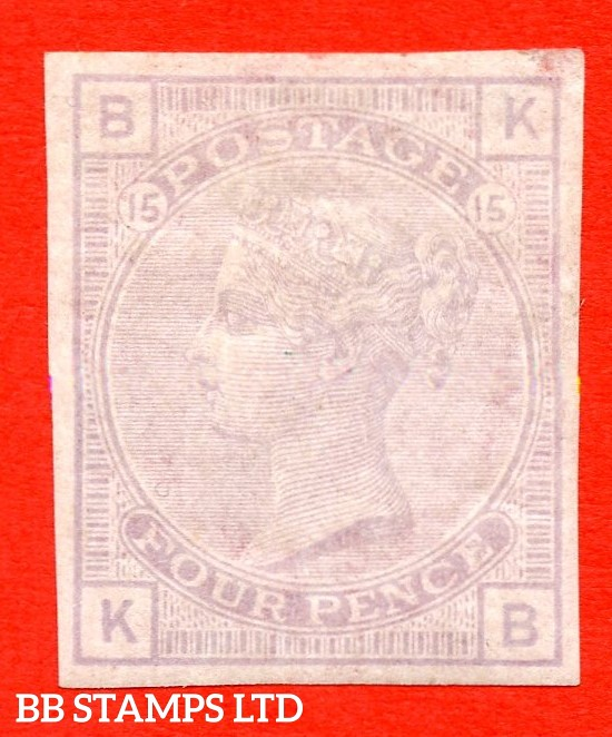 "SG. 153. J64. "" KB "". 4d grey lilac. Plate 15. A very fine mounted mint example of this COLOUR TRIAL."
