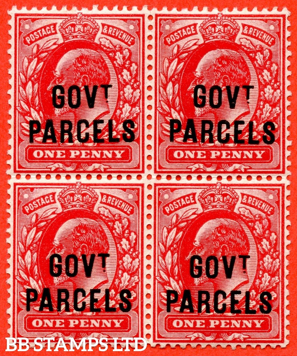 SG. 074. MO9. 1d scarlet. GOVT. PARCELS. A very fine ( 3 stamps UNMOUNTED MINT ) block of 4. A scarce multiple.