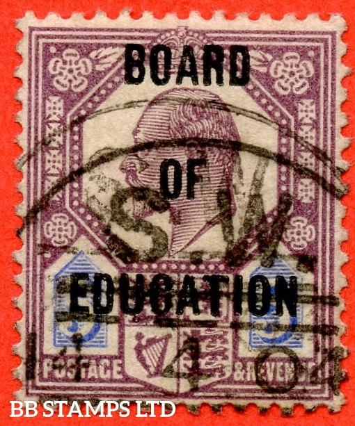 SG. 086. MO26. 5d dull purple & ultramarine. BOARD OF EDUCATION. A good - fine used example of this RARE Edwardian official complete with certificate.