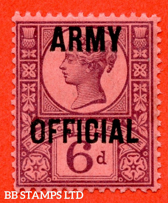 """SG. O45. L40. 6d Purple / Rose - Red. """" ARMY OFFICIAL """". A super UNMOUNTED MINT example."""