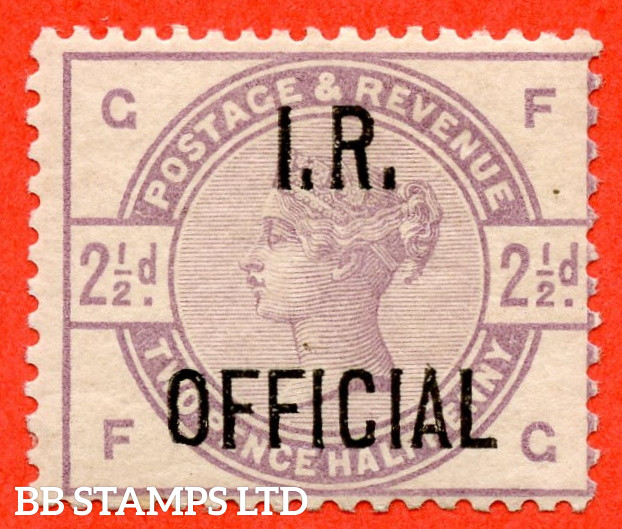 """SG. O6. L4. """" FG """". 2½d Lilac. """" I.R. OFFICIAL """". A super UNMOUNTED MINT example of this difficult mint victorian Official."""