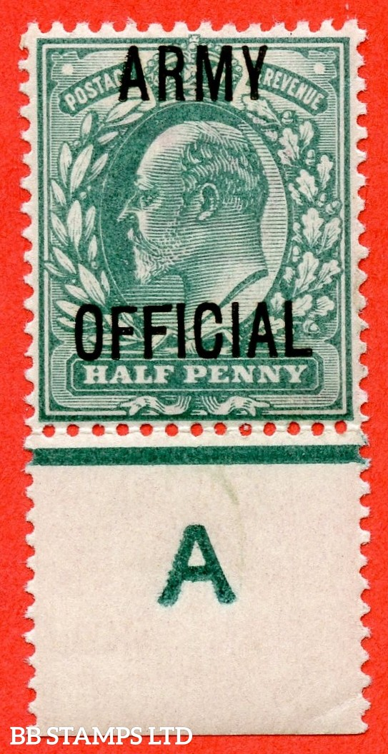 "SG. 048. MO19 j. ½d blue green. "" ARMY OFFICIAL "". A very fine UNMOUNTED MINT control "" A imperf continuous rule "" single with the listed "" Long top to second ' F ' "" listed variety."