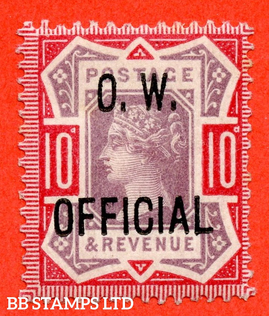 SG. O35. L35. 10d Dull Purple & Carmine. O.W. OFFICIAL. A very fine UNMOUNTED MINT example of this RARE Victorian Official complete with RPS certificate.