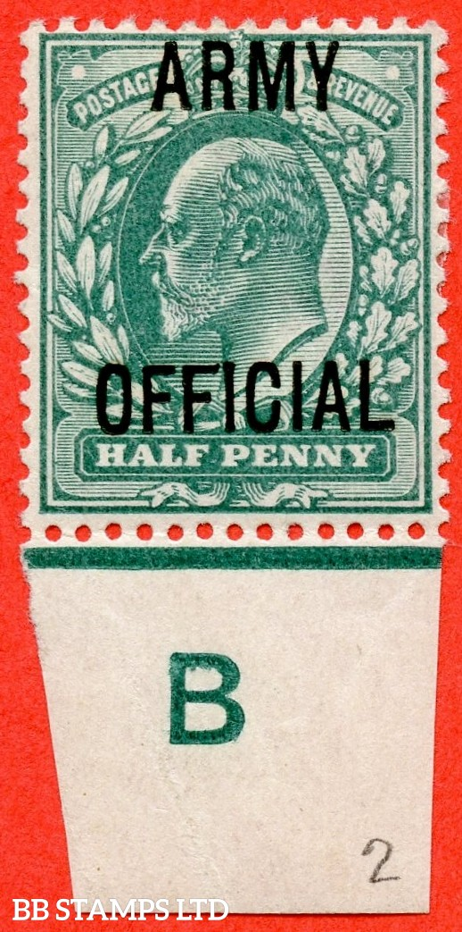 """SG. 048. MO19 j. ½d blue green. """" ARMY OFFICIAL """". A very fine mounted mint control """" B imperf continuous rule """" single with the listed """" Long top to second ' F ' """" listed variety. Complete with BPA certificate."""