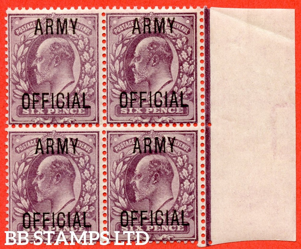 """SG. 050. MO21. 6d Pale dull purple. """" Army Official """". A very fine UNMOUNTED MINTright hand marginal block of 4. A scarce multiple these days."""