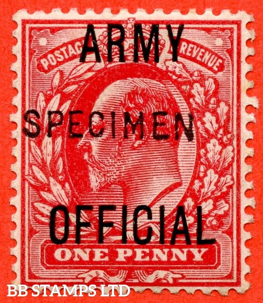 """SG. 049s. MO20 s. 1d scarlet """" Army Official """". A very fine UNMOUNTED MINT example overprinted SPECIMEN type 15."""