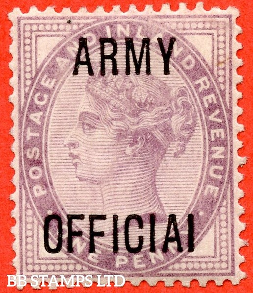 "SG. 043 a.L38 c. 1d Lilac. "" ARMY OFFICIAI "". A superb UNMOUNTED MINT example clearly showing the variety."