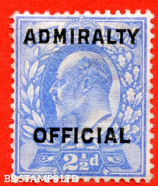 SG. 0111. MO40. 2½d Ultramarine Admiralty official Type II. A super UNMOUNTED MINT example of this very scarce stamp complete with RPS certificate.