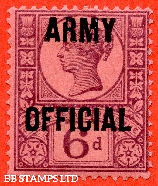 """SG. 045. L40. 6d purple / rose - red. """" ARMY OFFICIAL """". A super UNMOUNTED MINT example with unlisted """" Dot on ' M ' and open top to top left of ' R ' """" varieties."""