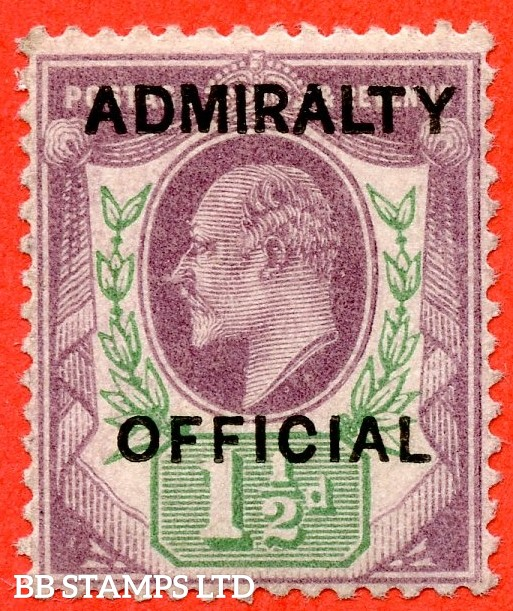 SG. 0103.  MO32. 1½d Dull purple & green. Admiralty Official. Type 1. A superb UNMOUNTED MINT example of this difficult stamp complete with RPS certificate.