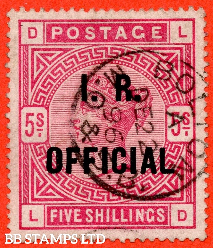 "SG. 09. L7 (2). "" LD "". 5/- Rose I.R. Official. A very fine "" 22nd December 1896 BOLTON "" CDS used example of this difficult stamp."