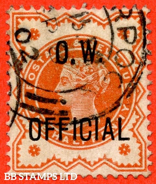 "SG. 031. L31 a. ½d vermilion. "" O.W. OFFICIAL "". A fine "" 8th September 1902 LIVERPOOL "" part CDS used example with the listed "" Large stop after ' O ' "" variety."