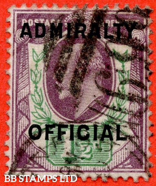 SG. 0109. MO38. 1½d Dull purple & green. Admiralty Official Type II. A good used example of this very scarce Official.
