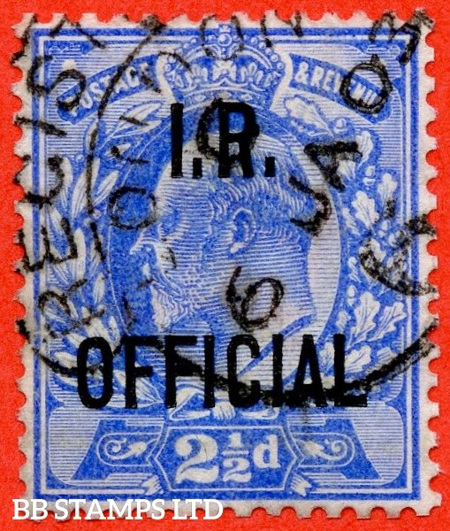 "SG. 022. MO3. 2½d Ultramarine. I.R Official. A fine "" 6th January 1903 LONDON "" CDS example complete with Brandon certificate."