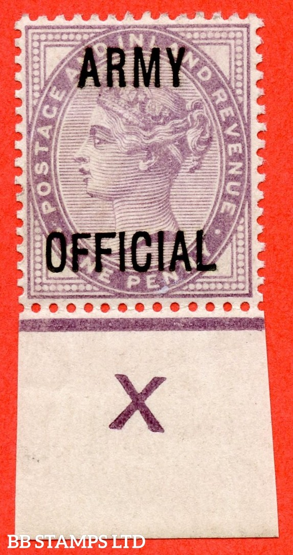 """SG. 043. L38 j. 1d Lilac. """" ARMY OFFICIAL """". A very fine UNMOUNTED MINT control """" X imperf """" single with the listed """" Long top to second ' F ' """" listed variety."""