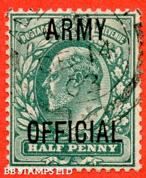 """SG. 048. MO19 j. ½d blue green. """" Army Official """". A fine used example with the scarce and underrated """" Long top to second ' F ' """" listed variety."""
