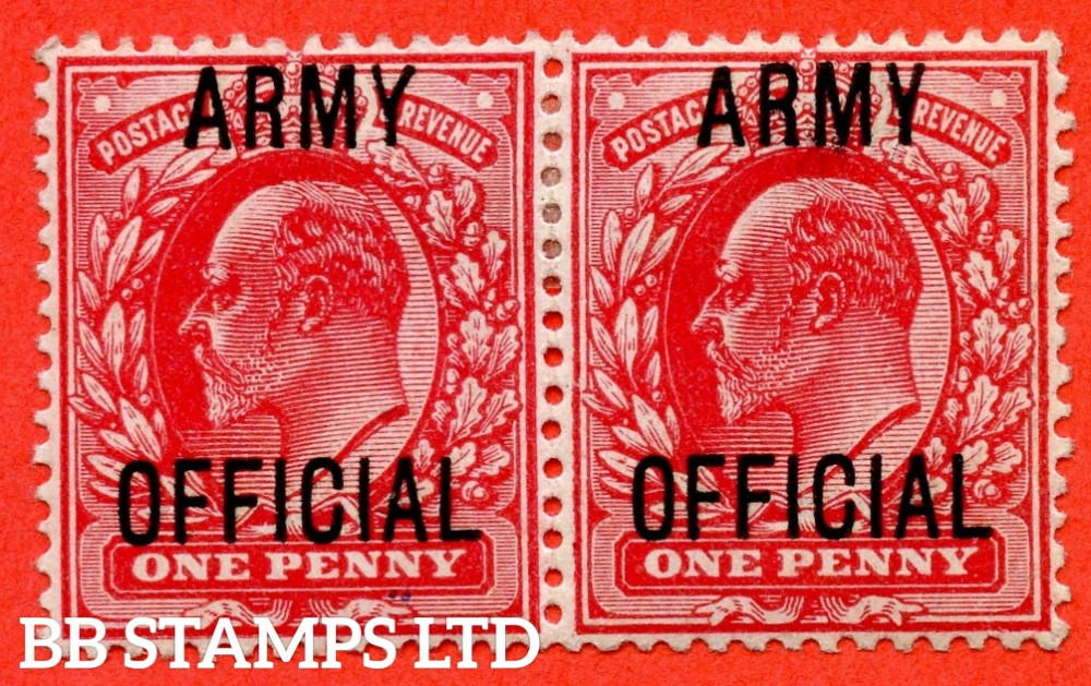 "SG. 049. MO20 h. 1d Scarlet. "" Army Official "". A mounted mint horizontal pair with the left hand stamp having the scarce and underated "" Splayed Y "" listed variety."