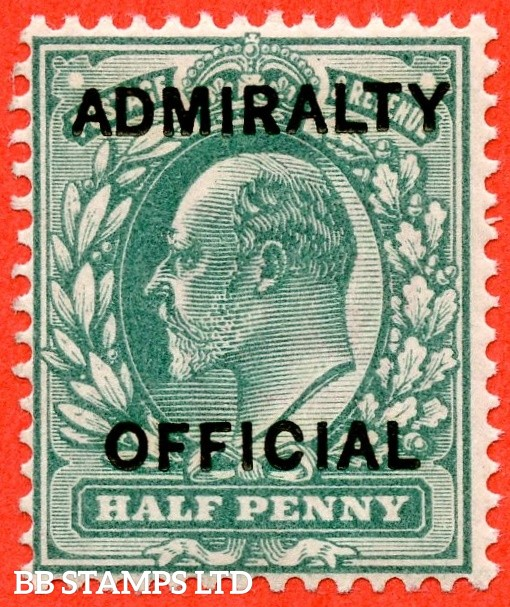 SG. 0101.  MO30. 1d blue-green. Admiralty Official. Type 1. A superb UNMOUNTED MINT example of this difficult stamp.