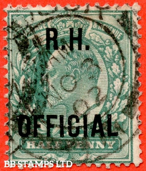"SG. 091. MO28. ½d blue green. "" R.H OFFICIAL "". A fine "" 3rd November 1902 "" CDS used example of this scarce Official. Complete with RPS certificate."