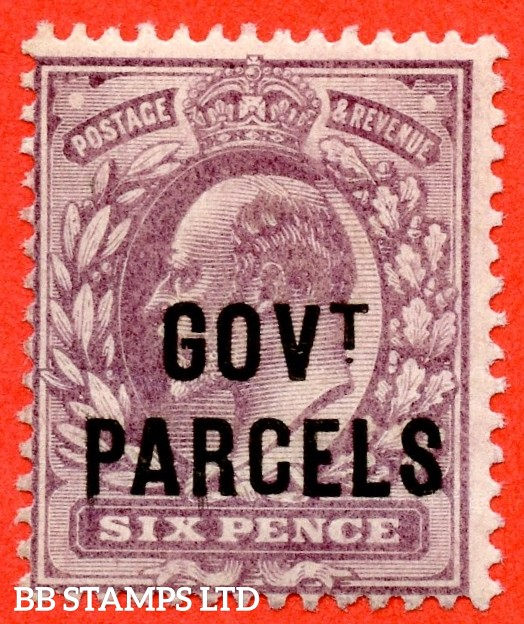 SG. 076. MO11. 6d Pale dull - purple. Govt. Parcels. A superb UNMOUNTED MINT example.