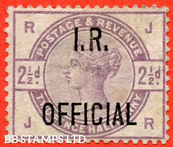 """SG. 06. L4. """" JR """". 2½d Lilac. """" I.R. OFFICIAL """". An average mounted mint example."""