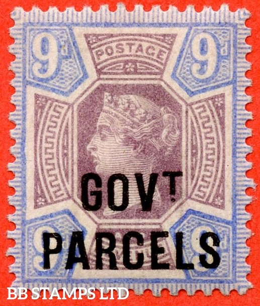 SG. 067. L28. 9d Dull purple & blue. GOVT. PARCELS. A superb UNMOUNTED MINT example with excellent perfs.