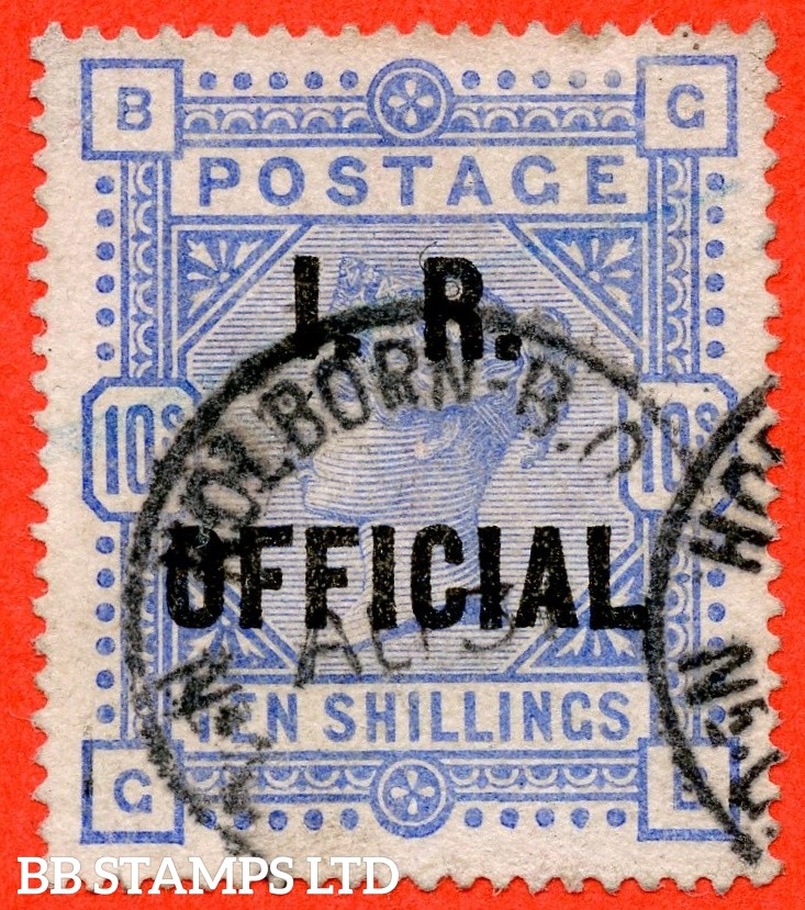 "SG. 010. L8 (4). "" GB "". 10/- Ultramarine. A fine "" 31st August HOLBORN "" oval cancel used example."