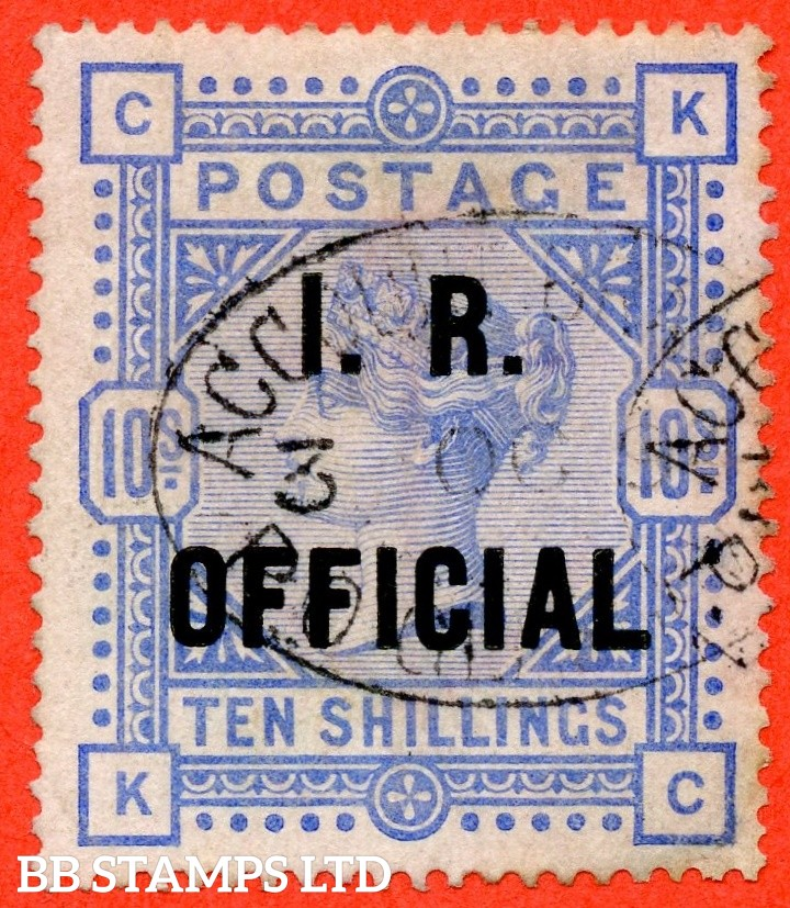 "SG. 010. L8 (4). "" KC "". 10/- Ultramarine. A fine "" 3rd October 1894 "" oval cancel used example. Complete with BRANDON certificate."