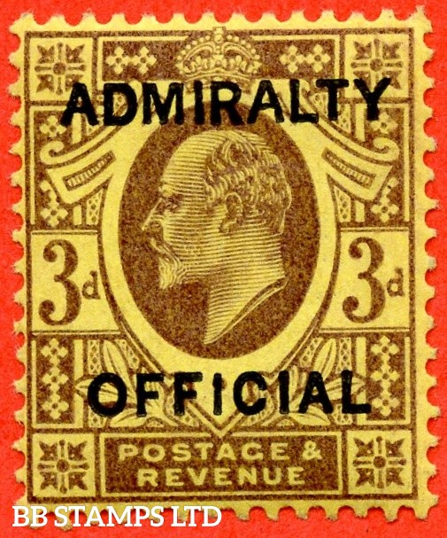 SG. 0106. MO35. 3d purple / yellow. Admiralty Official Type I. A very fine UNMOUNTED MINT example of this difficult stamp.