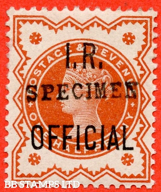 SG. 013 s. L12 s. ½d Deep Brownish Vermilion. I.R Official. A superb UNMOUNTED MINT example in this known but unlisted by SG. Shade variety overprinted SPECIMEN type 9. Complete with Hendon certificate.