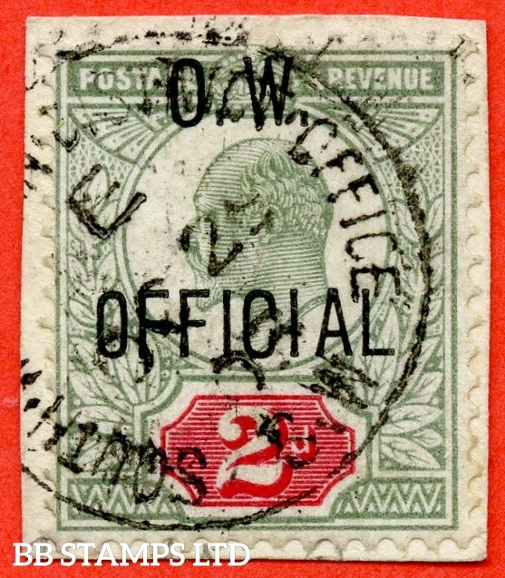 "SG. 038. MO16. Yellowish green & Carmine red. O.W. OFFICIAL. A very fine "" 29th December 1903 SOUTH DISTRICT OFFICE "" CDS used example of this very scarce Edwardian Official complete with RPS certificate."