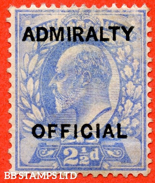 "SG. 0105. M034. 2½d ultramarine. "" Admiralty Official "" Type I. A fine very lightly mounted mint example of this difficult stamp. Complete with BPA certificate."