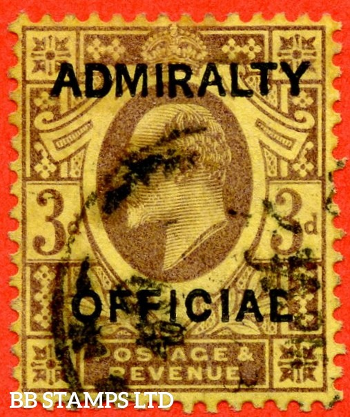 "SG. 0106. MO35. 3d purple / yellow. Admiralty Official Type I. A fine "" 3rd December 1903 "" CDS used example of this difficult stamp complete with RPS certificate."