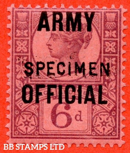 "SG. 045s. L40 s. 6d purple / rose - red. "" ARMY OFFICIAL "". A very fine UNMOUNTED MINT example overprinted SPECIMEN type 15."