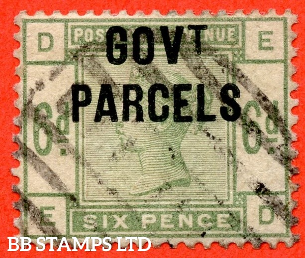 """SG. 062. L19. """" ED """". 6d Dull Green. """" Govt. Parcels """". A fine used example of this scarce Victorian Official complete with RPS certificate."""