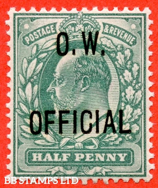 SG. 036. MO14. ½d Blue - green. O.W. Official. A very fine UNMOUNTED MINT example. Complete with BPA certificate.