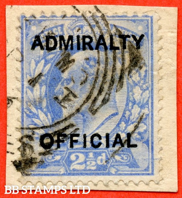 "SG. 0105. M034. 2½d ultramarine. "" Admiralty Official "" Type I. A very fine used example tied to small piece. Complete with BPA certificate."