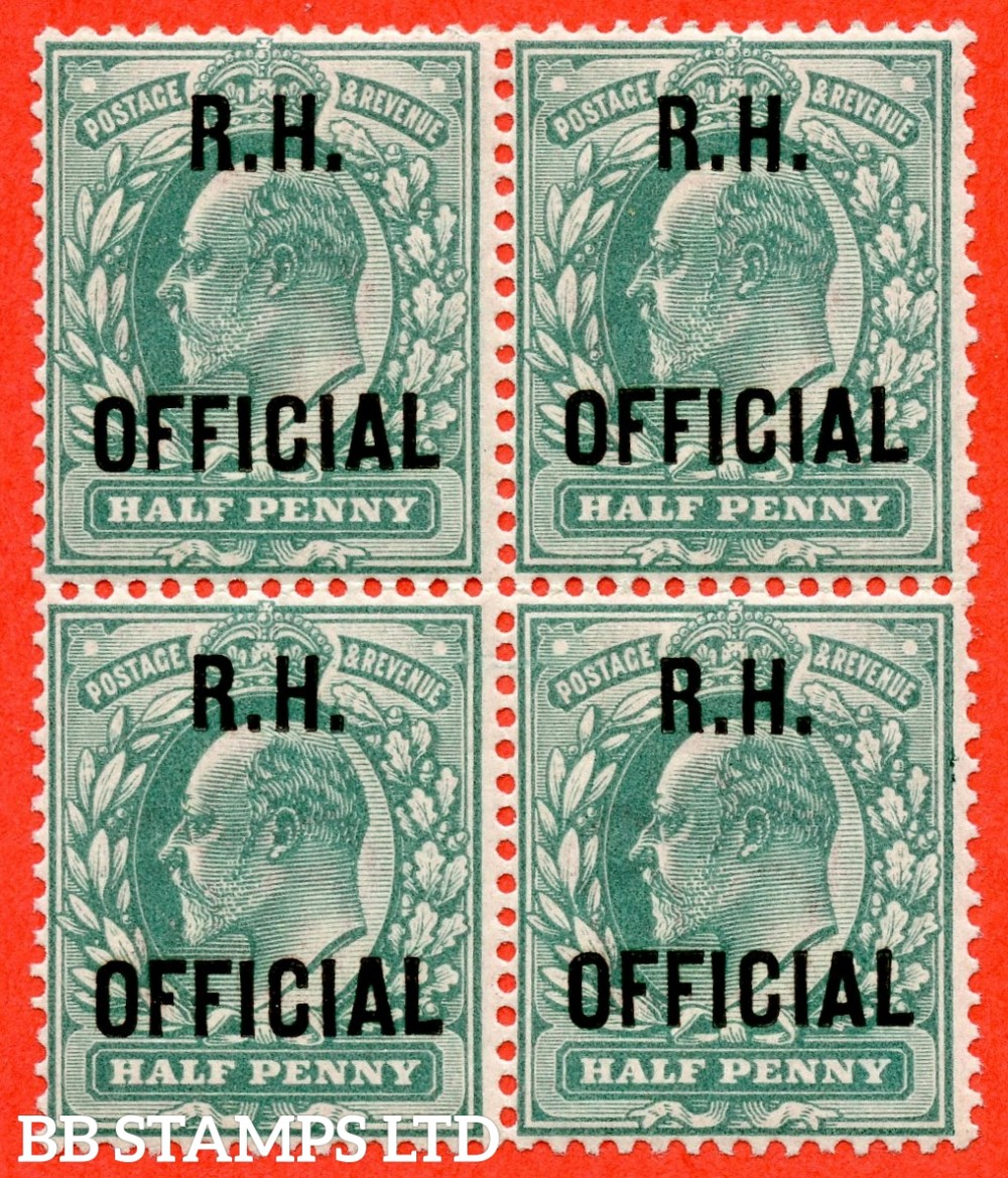"SG. 091. MO28. ½d blue green. "" R.H OFFICIAL "". A super UNMOUNTED MINT block of 4 of this scarce Official. Complete with RPS certificate."