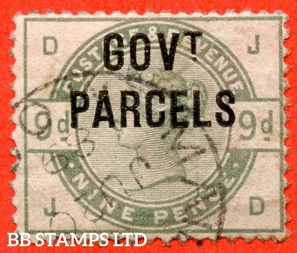 "SG. 063. L20. "" JD "" 9d Dull Green. "" Govt. Parcels "". A very fine "" 20th June 1889 "" CDS used example. A very scarce stamp CDS used."