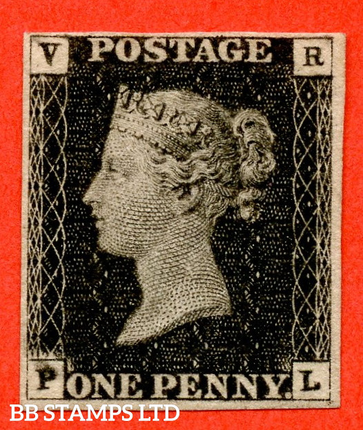 """SG. V1. VR1. """" PL """". 1d black.  VR Official. A very fine mounted mint four margined example. RARE in this grade and one of the rarest of all the Officials. Complete with RPS certificate which states soiled bottom left which is incredibly harsh."""