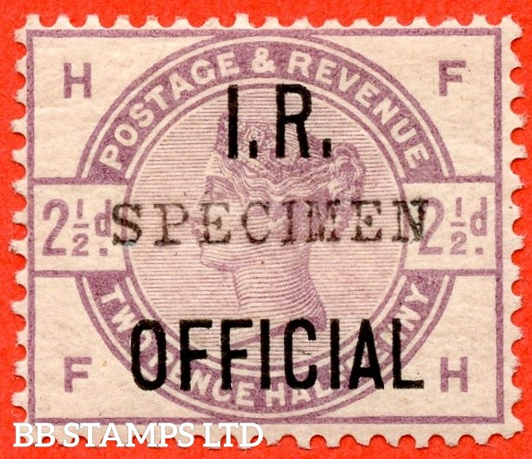 """SG. 06 s. L4 s. """" FH """". 2½d Lilac. """" I.R. OFFICIAL """". A fine mounted mint example overprinted with SPECIMEN type 9."""