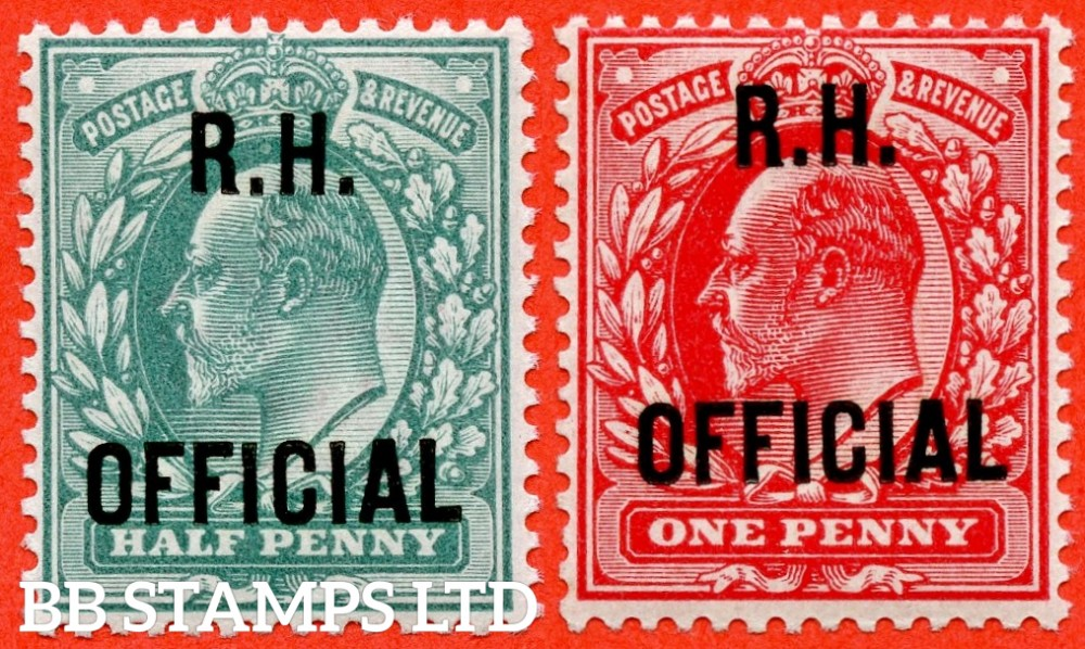 """SG. 091 & 092. MO28 & MO29. ½d blue green & 1d scarlet. """" R.H OFFICIAL """". A super UNMOUNTED MINTset of 2 of these scarce Officials. Both complete with BPA certificates."""