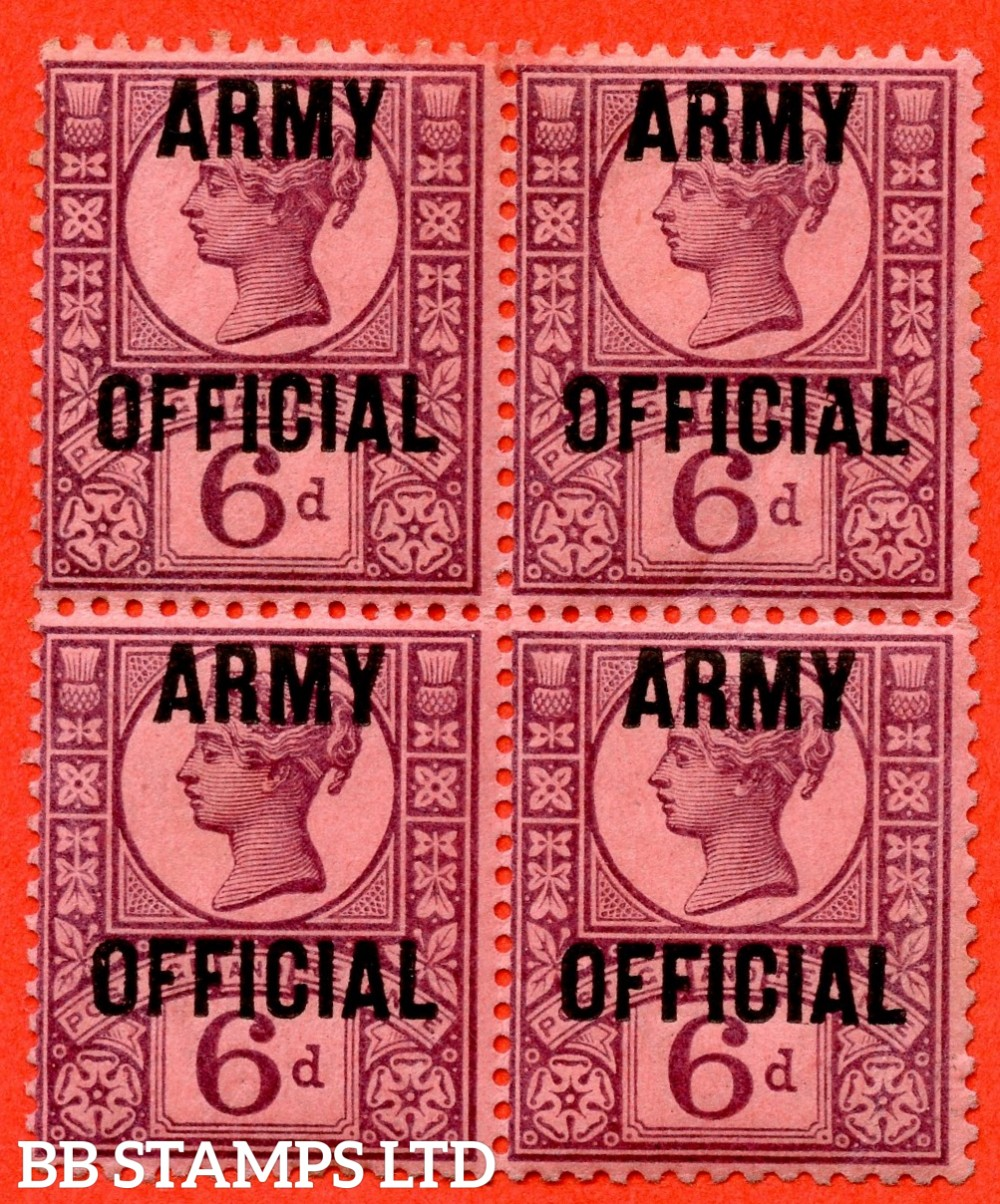 "SG. 045. L40. 6d purple / rose - red. "" ARMY OFFICIAL "". A fine ( 2 stamps UNMOUNTED MINT ) mint block of 4. A scarce multiple."