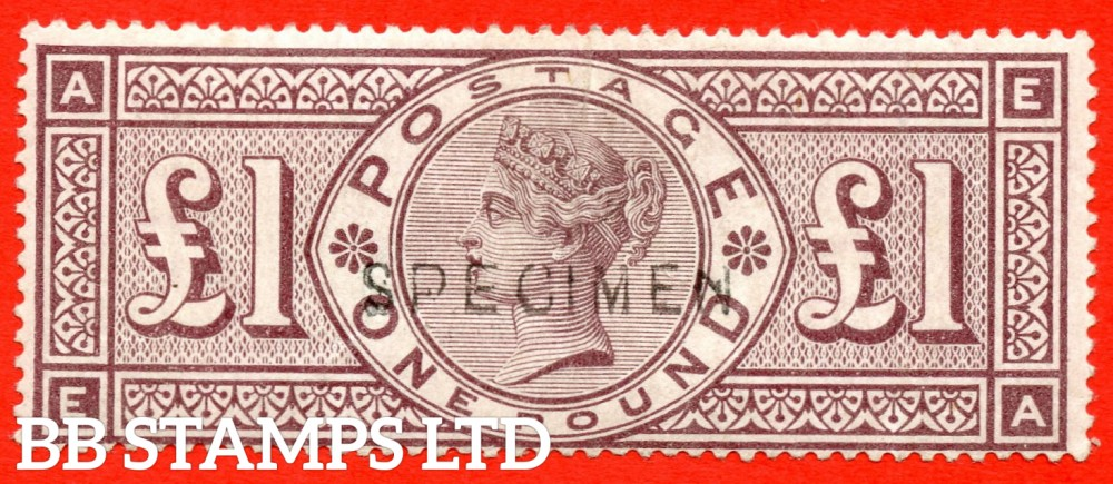"SG. 186s. K16s. "" EA "". £1.00 Brown - Lilac. A fine mounted mint example overprinted SPECIMEN type 11."