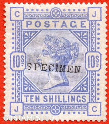 "SG. 182 s. K14 (1) u. "" JC "". 10/- Cobalt. A superb UNMOUNTED MINT example of this very scarce Victorian high value overprinted "" SPECIMEN "" type 9."