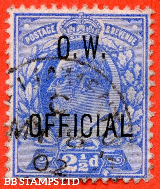 """SG. 039. MO17. 2½d Ultramarine. """" O.W.OFFICIAL """". A very fine """" 8th May 1902 PARLIAMENT STREET """" CDS used example of this very scarce Edwardian Official complete with RPS certificate."""