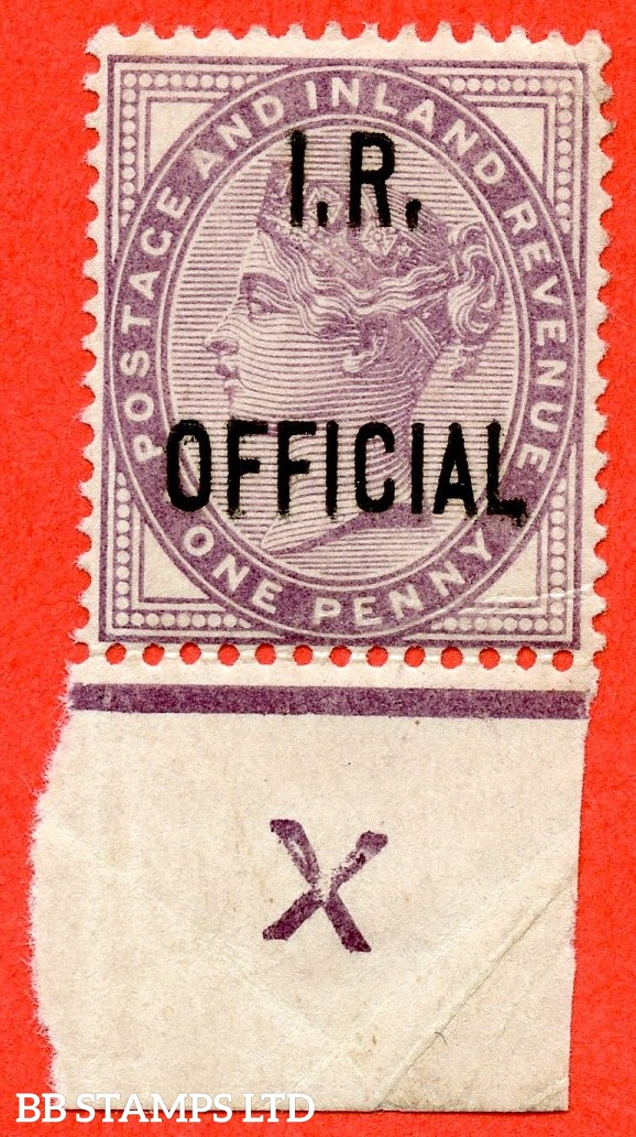 "SG. 03. L3. 1d lilac. I.R Official. A fine mounted mint control "" X ( inverted ) imperf "" example."